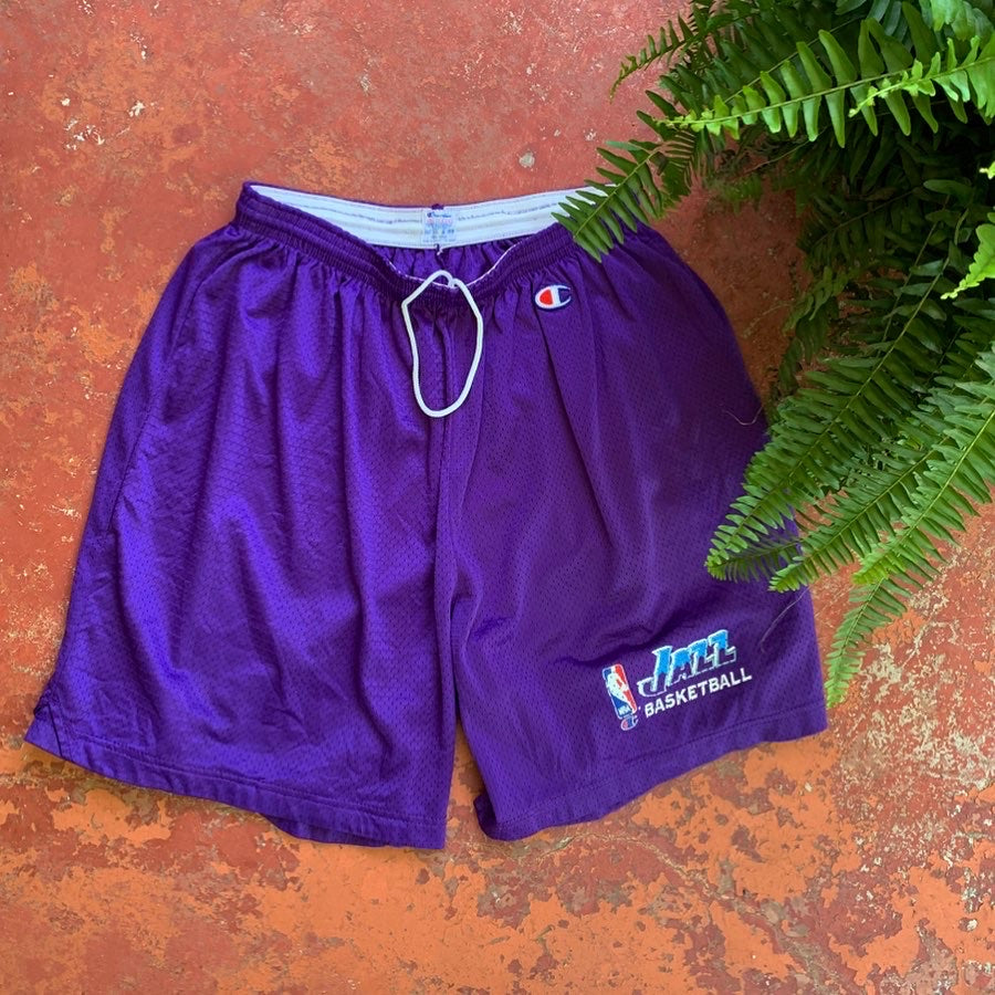 90's Utah Jazz Team Issued Practice Shorts by Champion-Locker Room Clt