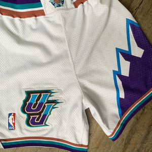 2002/2003 Utah Jazz Pro Cut/Team Issued Home NBA Shorts by Reebok (Medium)-Locker Room Clt