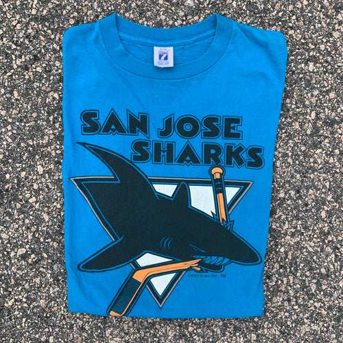 1991 San Jose Sharks Vintage Hockey Tee (XL)-Locker Room Clt