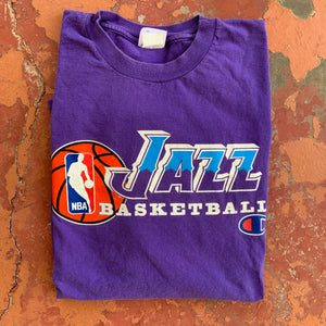 90's Utah Jazz Team Issued Tee by Champion-Locker Room Clt