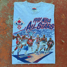 Load image into Gallery viewer, 1991 Charlotte NBA All-Star Vintage NBA Tee Featuring Jordan, Bird, Magic (Large)-Locker Room Clt