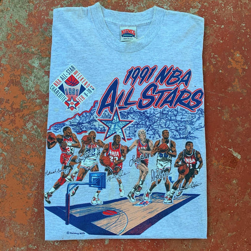 1991 Charlotte NBA All-Star Vintage NBA Tee Featuring Jordan, Bird, Magic (Large)-Locker Room Clt
