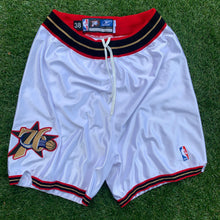 Load image into Gallery viewer, 2002/2003 Philadelphia 76ers Team Issued/Pro Cut Home White NBA Shorts by Reebok (M, L, XL, 2XL, 3XL)-Locker Room Clt