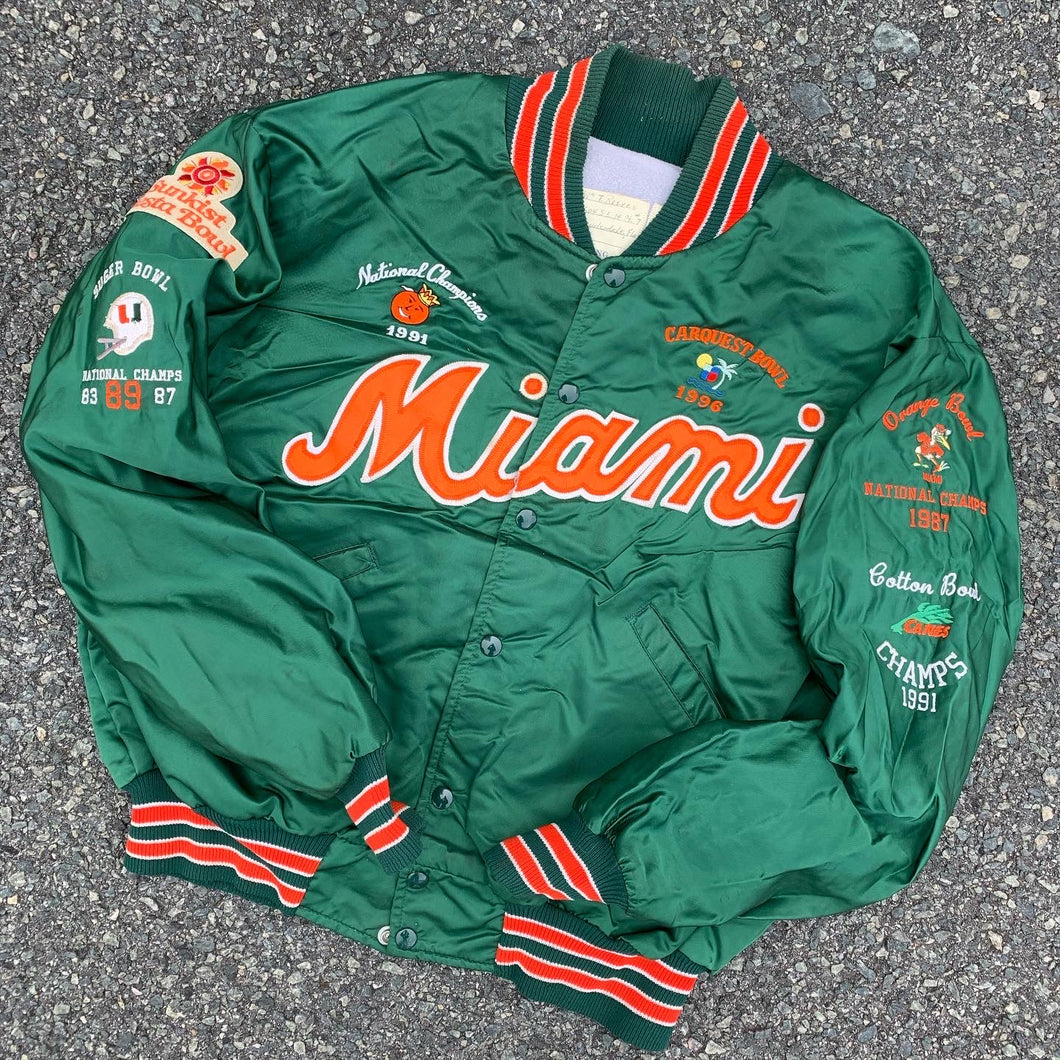 90's Miami Hurricanes Bowl Game Victories Satin Jacket-Locker Room Clt