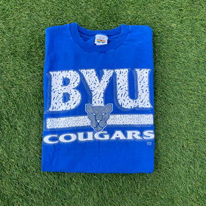 90's BYU Brigham Young Cougars Vintage Tee (XL)-Locker Room Clt