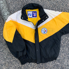Load image into Gallery viewer, 90's Pittsburgh Steelers Colorblocked Puffer by Logo 7 (Large)-Locker Room Clt