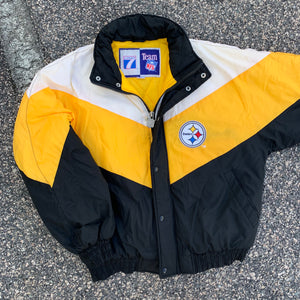 90's Pittsburgh Steelers Colorblocked Puffer by Logo 7 (Large)-Locker Room Clt