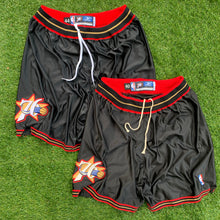 Load image into Gallery viewer, 2002/2003 Philadelphia 76ers Team Issued/Pro Cut Road Black NBA Shorts-Locker Room Clt
