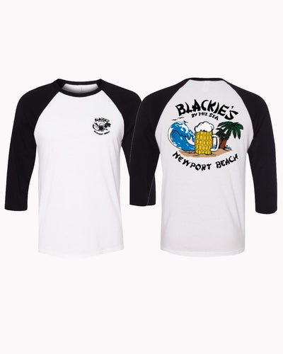 Black-White 3/4 Baseball Tee