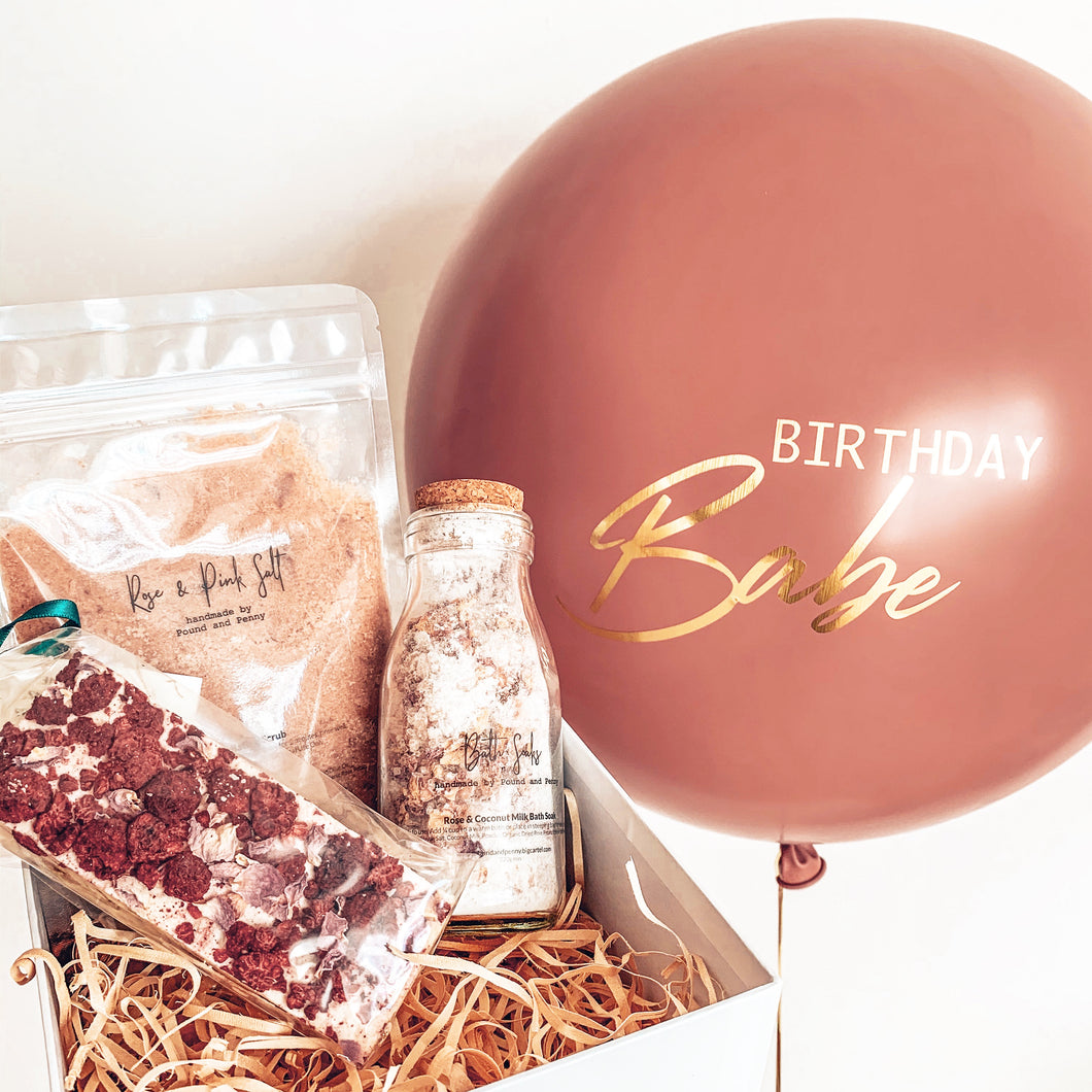 BIRTHDAY BABE BALLOON + GIFT BOX