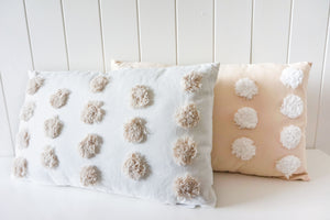 TUFTED CUSHION SPOTS- NATURAL ON WHITE