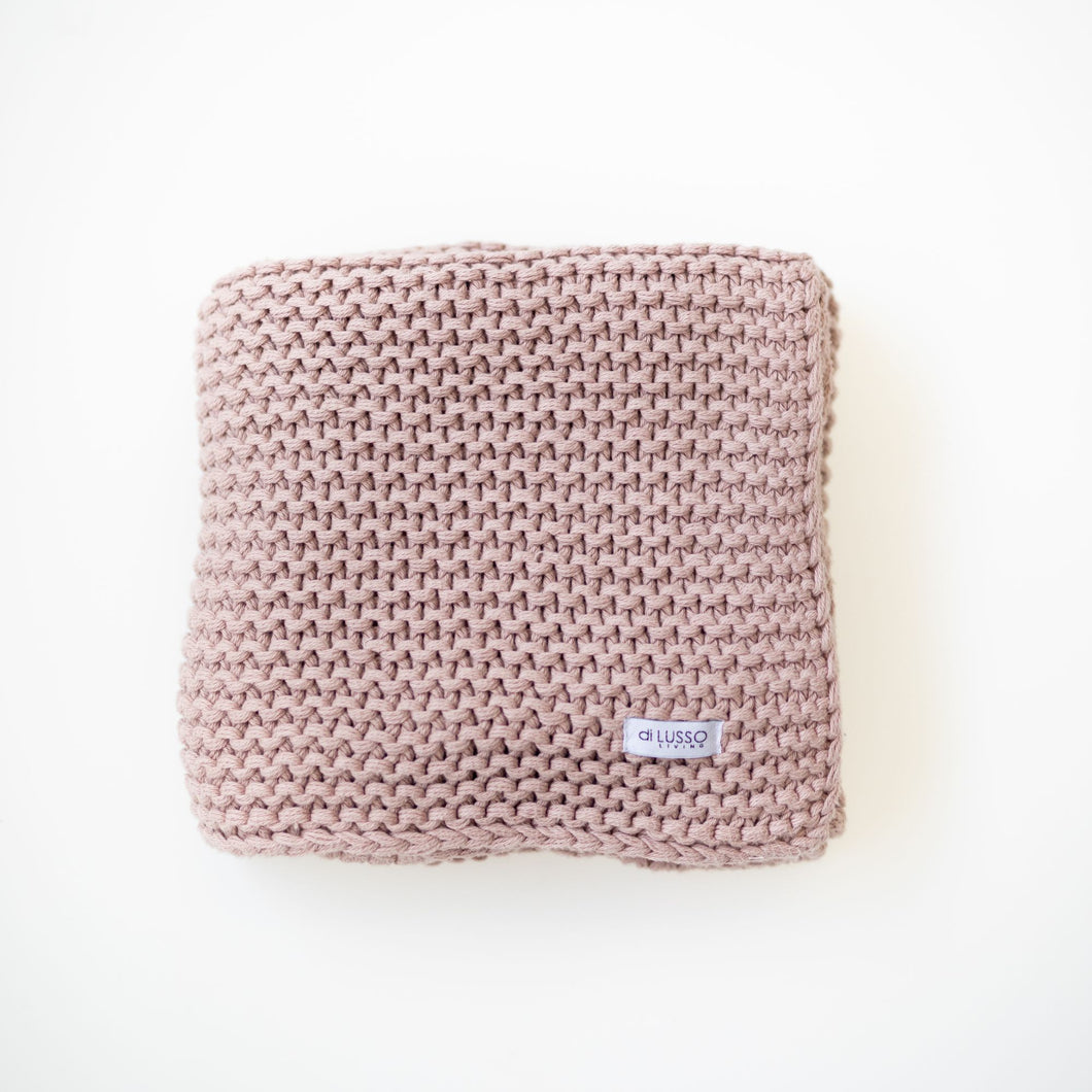 DILUSSO LIVING CHUNKY BLANKET- BLUSH