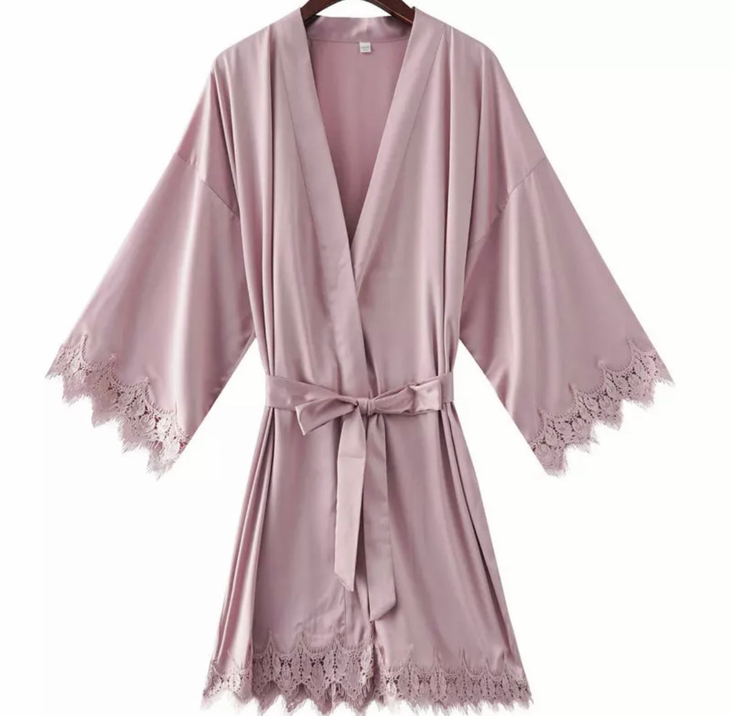 ROBE WITH LACE TRIM
