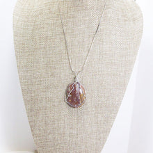 Load image into Gallery viewer, Macia Wire Wrap Cabochon Pendant Necklace relevant front view