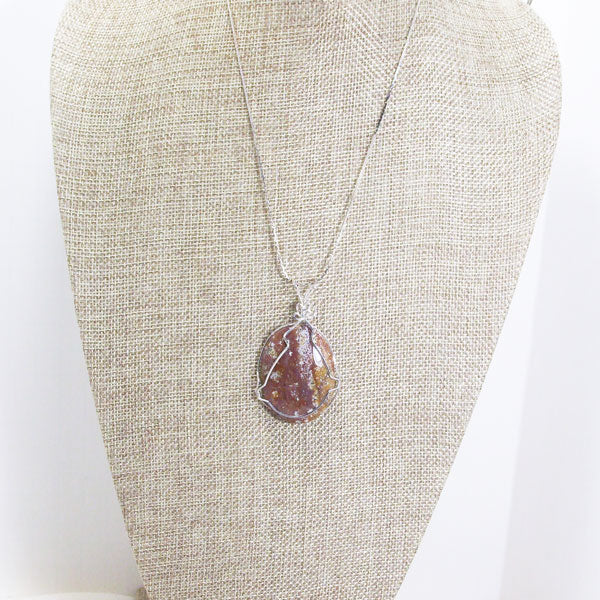 Macia Wire Wrap Cabochon Pendant Necklace relevant front view