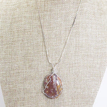 Load image into Gallery viewer, Macia Wire Wrap Cabochon Pendant Necklace close up view