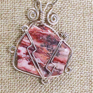 Odetta Wire Wrap Cabochon Pendent Necklace blow up view