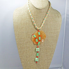 Load image into Gallery viewer, Wainani Wire Cabochon Beaded Pendant Necklace front relevant view