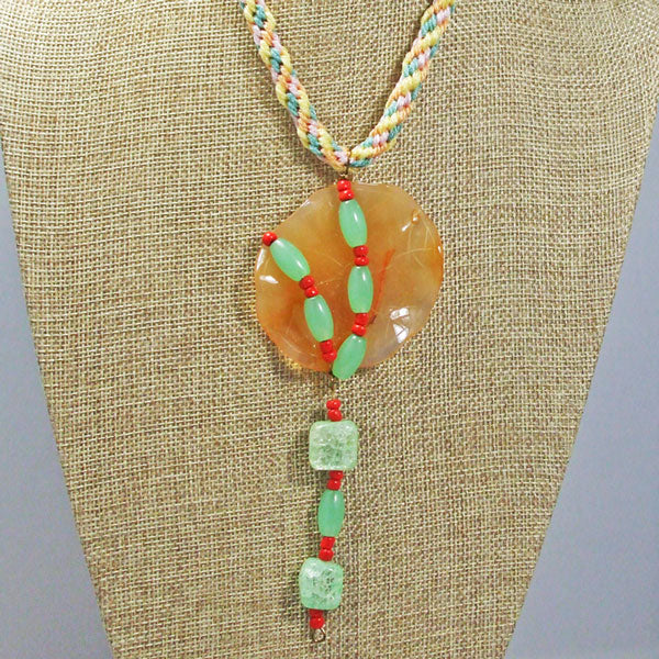 Wainani Wire Cabochon Beaded Pendant Necklace front close view