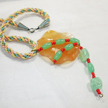 Load image into Gallery viewer, Wainani Wire Cabochon Beaded Pendant Necklace flat view