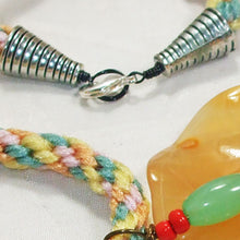 Load image into Gallery viewer, Wainani Wire Cabochon Beaded Pendant Necklace clasp view
