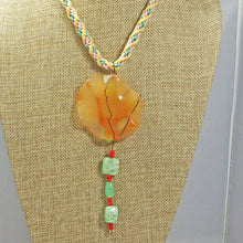 Load image into Gallery viewer, Wainani Wire Cabochon Beaded Pendant Necklace back view