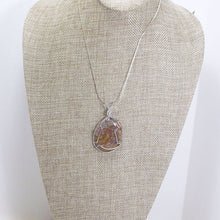 Load image into Gallery viewer, Zakia Wire Wrap Cabochon Pendant Necklace relevant front view