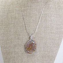 Load image into Gallery viewer, Zakia Wire Wrap Cabochon Pendant Necklace close up view