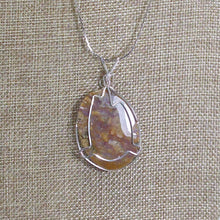Load image into Gallery viewer, Zakia Wire Wrap Cabochon Pendant Necklace back view