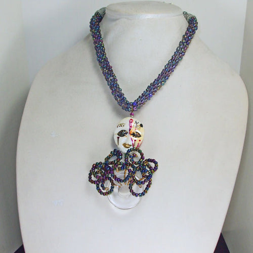 Palixena Beaded Wire Pendant Necklace front relevant view