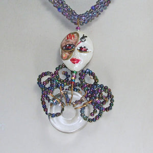 Palixena Beaded Wire Pendant Necklace back view