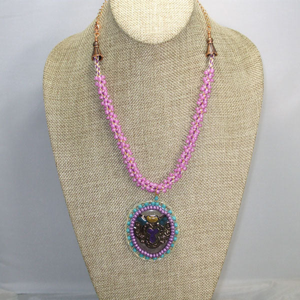 Bahiti Bead Embroidery Pendant Necklace front relevant view