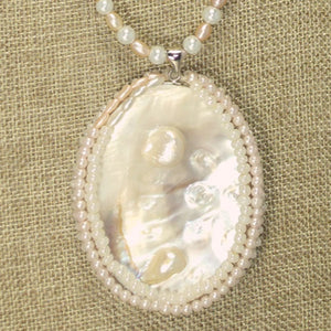 Oceana Bead Embroidery Cabochon Pendant Necklace pin up view