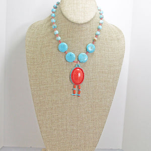 Cache Bead Embroidery Pendant Necklace