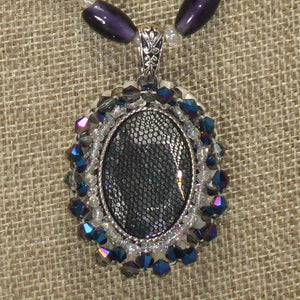 Xaier Bead Embroidery Cabochon Pendant Necklace front pin up view