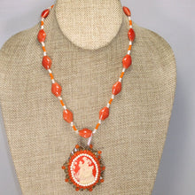 Load image into Gallery viewer, Saba Cameo Bead Embroidery Pendant Necklace front relevant view