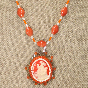 Saba Cameo Bead Embroidery Pendant Necklace front blow up view