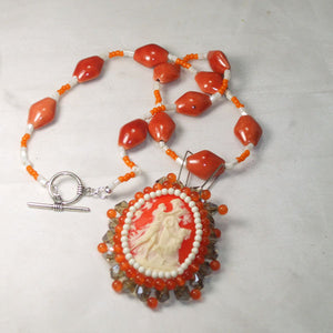 Saba Cameo Bead Embroidery Pendant Necklace flat view