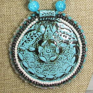 Odda Bead Embroidery Polymer clay Pendant Necklace front blow up view