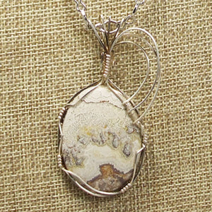 Utalia Cabochon Pendant Necklace front blow up view