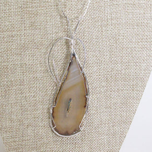Taija Wire Wrap Cabochon Pendant Necklace back view