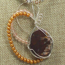 Load image into Gallery viewer, Jaamini Jasper Cabochon Pendant Necklace back relevant view