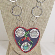 Load image into Gallery viewer, Kagami Bead Embroidery Mother-of-Pearl Pendant necklace close up view