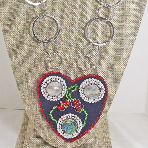 Kagami Bead Embroidery Mother-of-Pearl Pendant necklace close up view