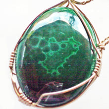 Load image into Gallery viewer, Hadda Malachite Cabochon Pendant Necklace pin up view