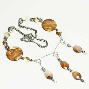 Barika Beaded Agate Costume Jewelry Necklace flat view