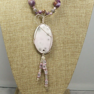 Gail Chalcedony Cabochon Pendant Necklace front close view