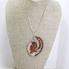 Load image into Gallery viewer, Paka Wire Wrap Cabochon Pendant Necklace relevant front view