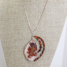 Load image into Gallery viewer, Paka Wire Wrap Cabochon Pendant Necklace close up view