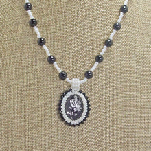 Load image into Gallery viewer, Faith Bead Embroidery Pendant Necklace close up front view
